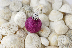 Christmas seaside, bauble, sea shells. Royalty Free Stock Image