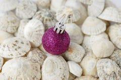 Christmas seaside, bauble, sea shells. Single purple bauble amongst seashells. Christmas at the seaside concept royalty free stock image