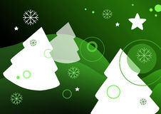 Christmas season. Illustration of winter landscape with trees and stars on green background Royalty Free Stock Images