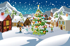 Christmas season. A vector illustration of people enjoying the Christmas season in a village with snow all over the place Royalty Free Stock Photos