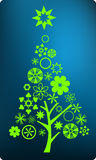 Christmas season!. Christmas tree decorated with many items on blue background stock illustration