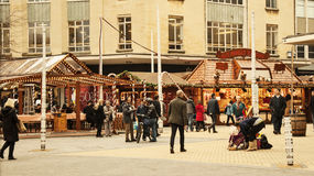 Christmas season in Bristol. Bristol, UK - November 9, 2015:  the 7th German Christmas Market in Broadmead, Bristol. They are 38 traditional chalets decorated Royalty Free Stock Photo