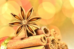 Christmas season, cinnamon sticks, anise star Royalty Free Stock Images