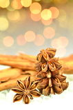 Christmas season, cinnamon sticks, anise stars Royalty Free Stock Photo