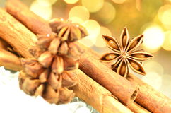 Christmas season, cinnamon sticks, anise stars Stock Photography