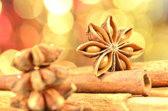 Christmas season, cinnamon sticks, anise stars stock photos