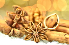 Christmas season, cinnamon sticks, anise stars and walnut Royalty Free Stock Image