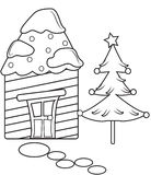 Christmas season coloring page. Useful as coloring book for kids stock illustration