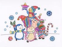 Christmas season creative coloring book stock illustration