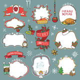 Christmas season doodle symbols with badges Royalty Free Stock Images
