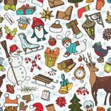 Christmas season.Doodle symbols in seamless pattern Royalty Free Stock Photography