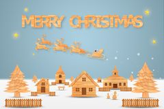 Christmas season and Happy new year season made from wood with decorations art and craft style, illustration Stock Photo