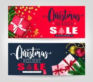 Christmas Season and Holiday Sale Banners Set with Pine Leaves. Gifts, Stars, Christmas Balls, Ginger Bread Man and Tree Promotional Design. Vector vector illustration