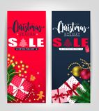 Christmas Season and Holiday Sale Poster or Tags Design Set. With Pine Leaves, Gifts, Stars, Christmas Balls, Ginger Bread Man and Tree Promotional Design Stock Photo