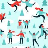 Christmas season pattern people at ice skate park. Christmas season seamless pattern of diverse people ice skating at outdoor park in winter. Xmas holiday royalty free illustration