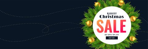 Christmas season sale banner with text space. Vector stock illustration