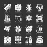 Christmas season sale clearance monochrome icons stock illustration