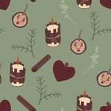 Vintage christmas elements seamless pattern with green background royalty free stock image