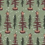 Vintage christmas seamless pattern with green background royalty free stock image