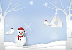 Christmas season with snowman and couple birds winter background vector illustration
