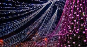 Christmas Season, Tree With Illuminated Lights Stock Photography