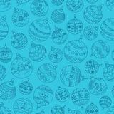 Christmas season vector seamless pattern. Xmas doodle baubles ba Royalty Free Stock Photo