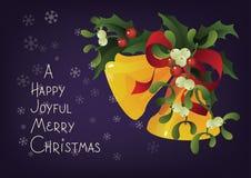 Christmas seasonal greeting card A Happy Joyful Merry Christmas and Jingle bells Stock Image