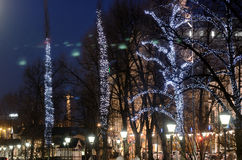 The Christmas seasone begins in Helsinki. The Christmas lights a Royalty Free Stock Image