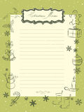 Christmas seasons vintage memo sheet Stock Photography