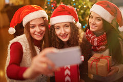 Christmas selfie stock photos