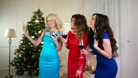 Christmas Selfies, idea to make photos From mobile phone, cheerful girlfriend drink wine, clink glasses, Salud, Cheers stock footage