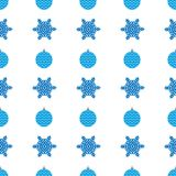 Christmas semless pattern with blue snowflake and christmas ball on white background. Vector illustration Royalty Free Stock Image