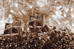 Christmas in sepia Royalty Free Stock Photography