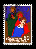 Christmas, serie, circa 1981. MOSCOW, RUSSIA - AUGUST 18, 2018: A stamp printed in Liechtenstein shows Christmas, serie, circa 1981 stock photo