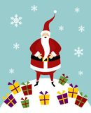 Christmas serie: Santa Claus on a snow mountain Royalty Free Stock Photo