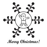 Christmas series: nice picture with gingerbread man in a snowflake. Christmas series: nice picture with gingerbread man in a snowflake on a white background vector illustration