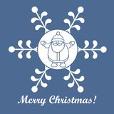 Christmas series: nice picture with Santa Claus in a snowflake i. N a linear style on a colored background stock illustration