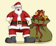 Christmas series: Santa Claus and gifts bag Royalty Free Stock Photo