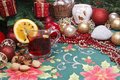 Christmas and serve a delicious mulled wine. With decoration and free place for objects Royalty Free Stock Photo