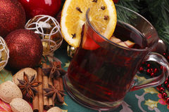 Christmas and serve a delicious mulled wine. With decoration Stock Photo