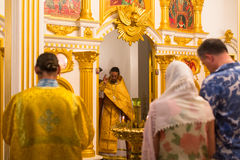 Christmas service and the vigil on Feast of the Nativity of Christ (Russian Orthodox Church). KOH CHANG - THAILAND - JAN 7, 2016: Christmas service and the vigil royalty free stock photos