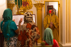 Christmas service and the vigil on Feast of the Nativity of Christ (Russian Orthodox Church). KOH CHANG - THAILAND - JAN 7, 2016: Christmas service and the vigil Stock Images