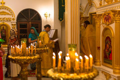 Christmas service and the vigil on Feast of the Nativity of Christ (Russian Orthodox Church). KOH CHANG - THAILAND - JAN 7, 2016: Christmas service and the vigil Royalty Free Stock Photo