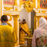 Christmas service and the vigil on Feast of the Nativity of Christ (Russian Orthodox Church). KOH CHANG - THAILAND - JAN 7, 2016: Christmas service and the vigil Stock Image