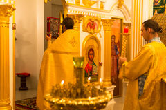 Christmas service and the vigil on Feast of the Nativity of Christ (Russian Orthodox Church) Royalty Free Stock Photos