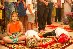 Christmas service and the vigil on Feast of the Nativity of Christ (Russian Orthodox Church). KOH CHANG - THAILAND - JAN 7, 2016: Christmas service and the vigil Stock Photos