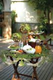 Christmas serving table. A small serving table with food, decorated with Christmas ornaments Royalty Free Stock Image