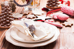 Christmas serving table Royalty Free Stock Photography