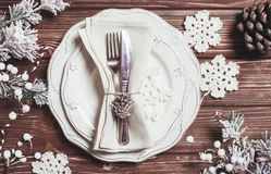 Christmas serving table Royalty Free Stock Image