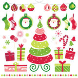 Christmas Set. New Year's decorations in different colors and designs set Stock Images